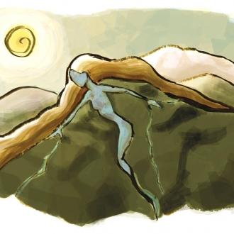 Mujer y montaña ilustració